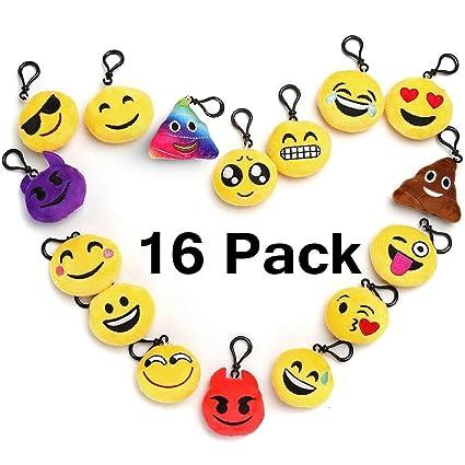 emoji keychain party favors for kids 16 pack 2 mini emoji plush pillows for