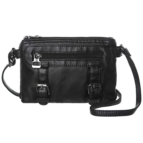 af423e10fc64 Women Soft Synthetic Leather Small Crossbody Bag Mini Crossbody Cell Phone Purse  Wallet(Black)