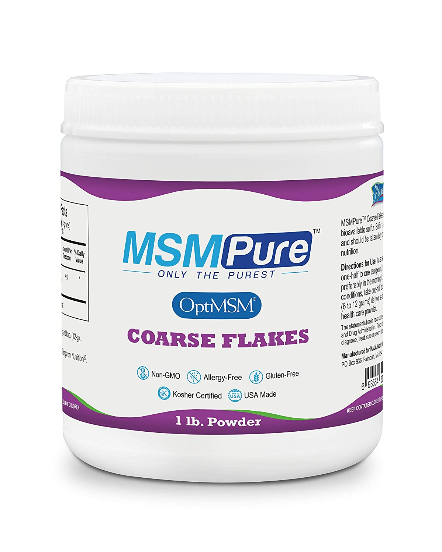 Kala Health MSMPure Coarse Powder Flakes, Organic Sulfur Crystals, 99 9%  Pure Distilled MSM