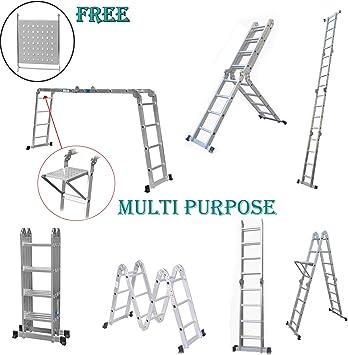 Escalera multiusos plegable de aluminio con 1 bandeja de herramientas para interior y exterior de oficina de 4,7 m: Amazon.es: Bricolaje y herramientas