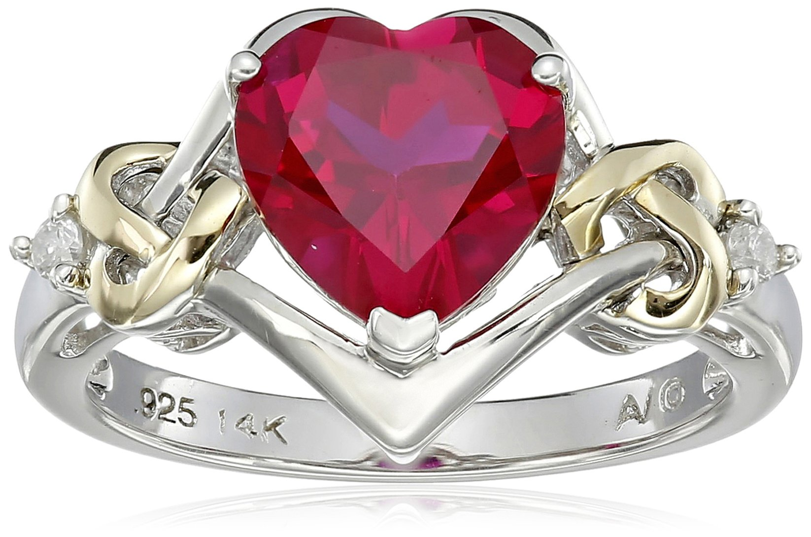Sterling Silver and 14k Yellow Gold Diamond and Heart-Shaped Created Ruby Ring (0.03 cttw, I-J Color, I3 Clarity), Size 8