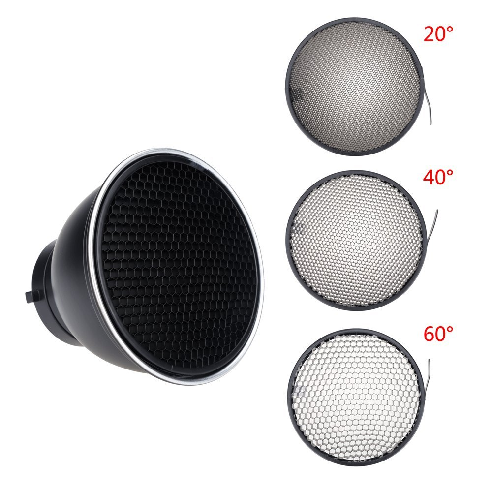 Ultrapure 7 18cm Standard Reflector Diffuser With 20 40 60 Degree Universal Flash Honeycomb Grid For