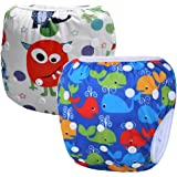 Storeofbaby 2pcs Baby Swim Diaper Short Trunks Reusable Adjustable Infant 0 3 Years (Pack of 2)