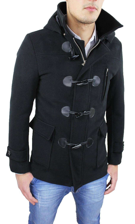 Cappotto Uomo Montgomery Invernale Nero Giacca 100/% Made in Italy