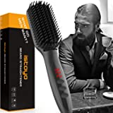 Beard Straightener for Men 2019 Beard Straightening Heat Brush Ionic Hot Ceramic Comb with Anti-Scald Feature, Rapid Heating, Multi-Stage Temperature Control and Auto-off Function for Home and Travel