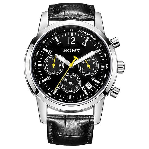 howk Hombre Fecha impermeable cronógrafo cuarzo vestido reloj esfera de color negro con banda de piel), color negro: Octzvio Garcia: Amazon.es: Relojes