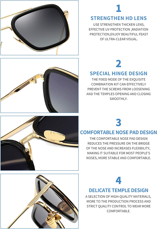 Retro Sunglasses Tony Stark Glasses Vintage Square Eyewear Metal Frame for Men Women Iron Man Gold Frame/Gradient Gray Lens