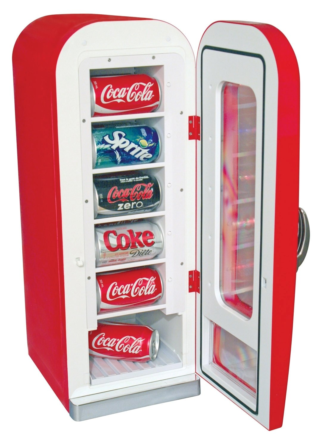 Koolatron CVF18 Retro-designed Thermoelectric Vending Fridge, Holds up to  10 Cans, Push Button Vending, Tall Window Display, Plugs Into Any Vehicle