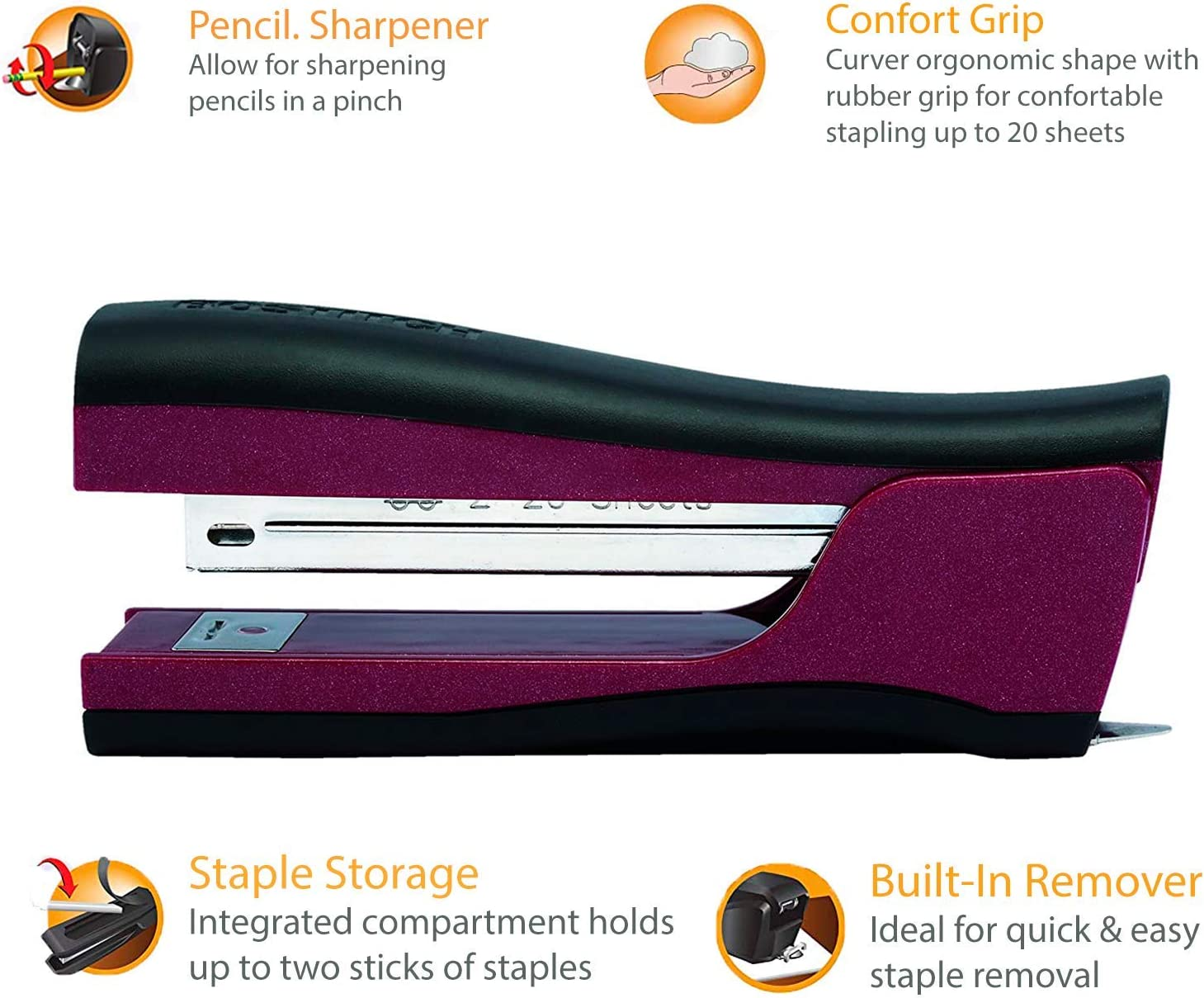 2105 1.6 x 3 x 11 Bostitch Office EZ Squeeze Reduced Effort 3-Hole Punch Purple 12 Sheets