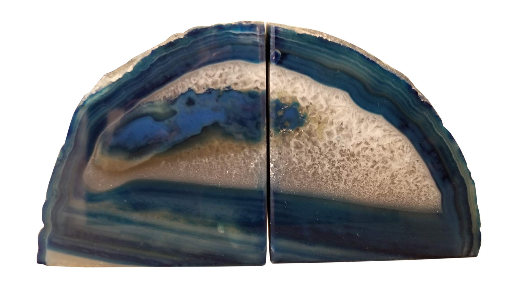 Natural Brazilian Agate Stone Coasters, Bookends and Wind Chimes Set, Incl 4 Large Coasters 4''-5'', 1 Pair of Bookends 2-3 lbs and Wind Chimes, Free Microfiber Polishing Cloth and 2 Mugs (blue) by Enchanted Dwelling (Image #2)