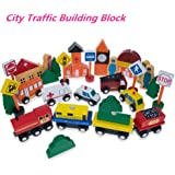 Wooden Cars Traffic Signs Building Blocks Set