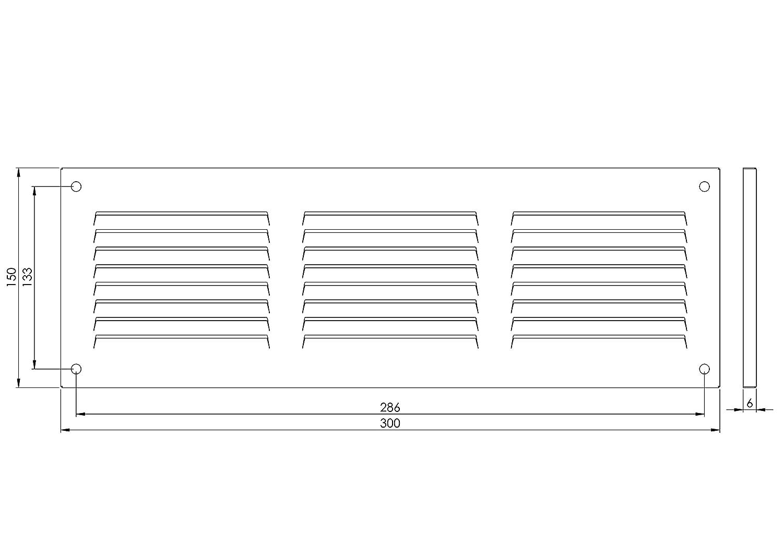 mr3015b Avec moustiquaire Grille da/ération Marron Dimensions/: 300 x 150 mm