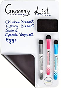Magnetic Dry Erase White Board Sheet for Fridge 17x11 in - with Stain Resistant Technology - Includes 3 Markers and Big Eraser with Magnets - Small Refrigerator Whiteboard Planner & Organizer