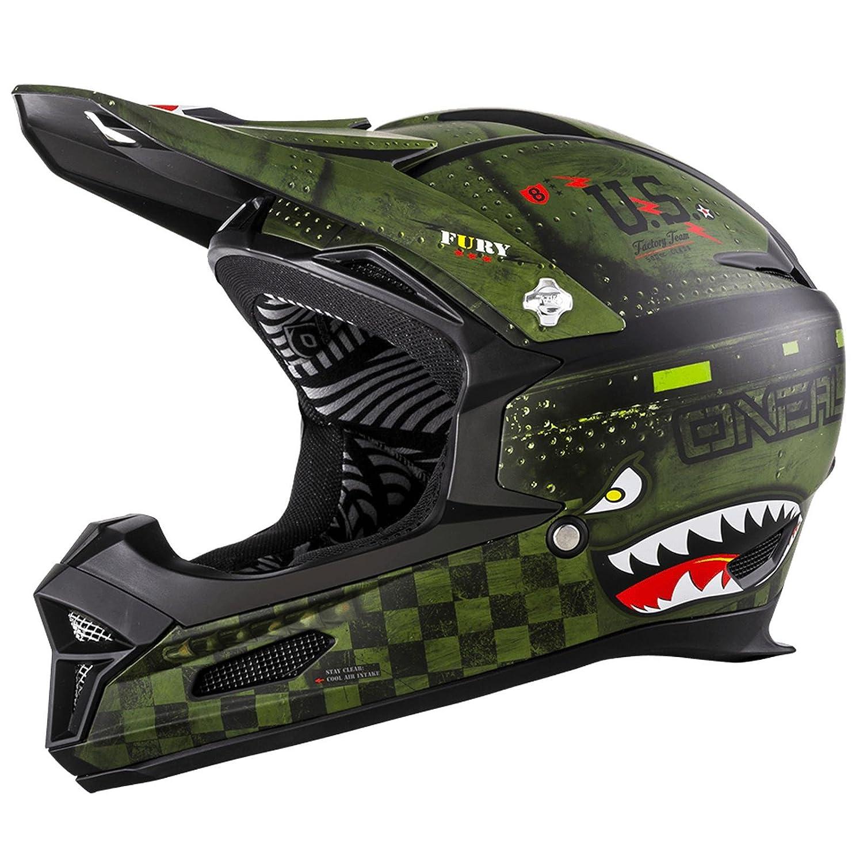 O& 039;Neal Fury RL Helm Warhawk Grün Matt Action Cam Mount Halterung FR MTB Downhill Fullface Fahrrad, 0499-72