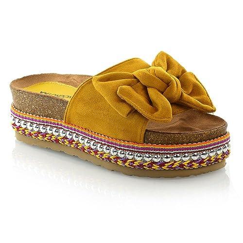 e6e843db9f070 ESSEX GLAM Womens Flatform Shoes Ladies Bow Wedge Heel Pearl Studded  Platform Sandals