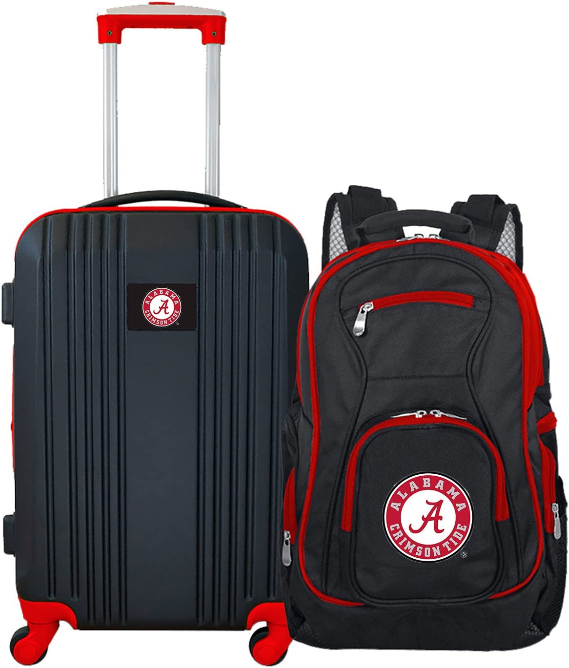 Amazon Com Denco Ncaa Alabama Crimson Tide 2 Piece Luggage Set Black 21 Sports Outdoors