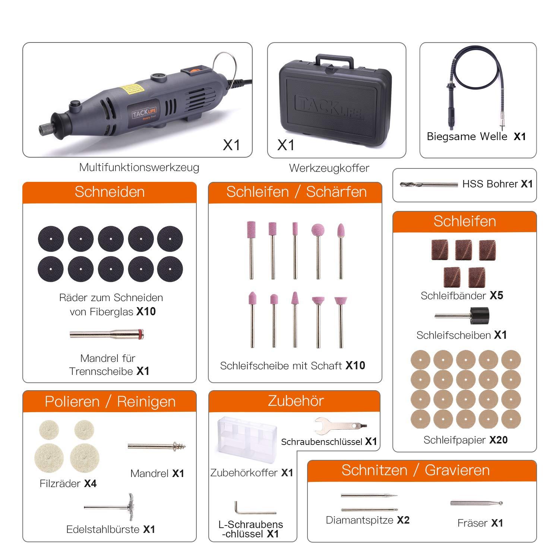 Inkl Tacklife RTD34AC Multitool 135W mit 59 Zubeh/ör und Biegsame Welle zum Trennen Schleifen Gravieren Polieren Werkzeugkoffer Multifunktionswerkzeug