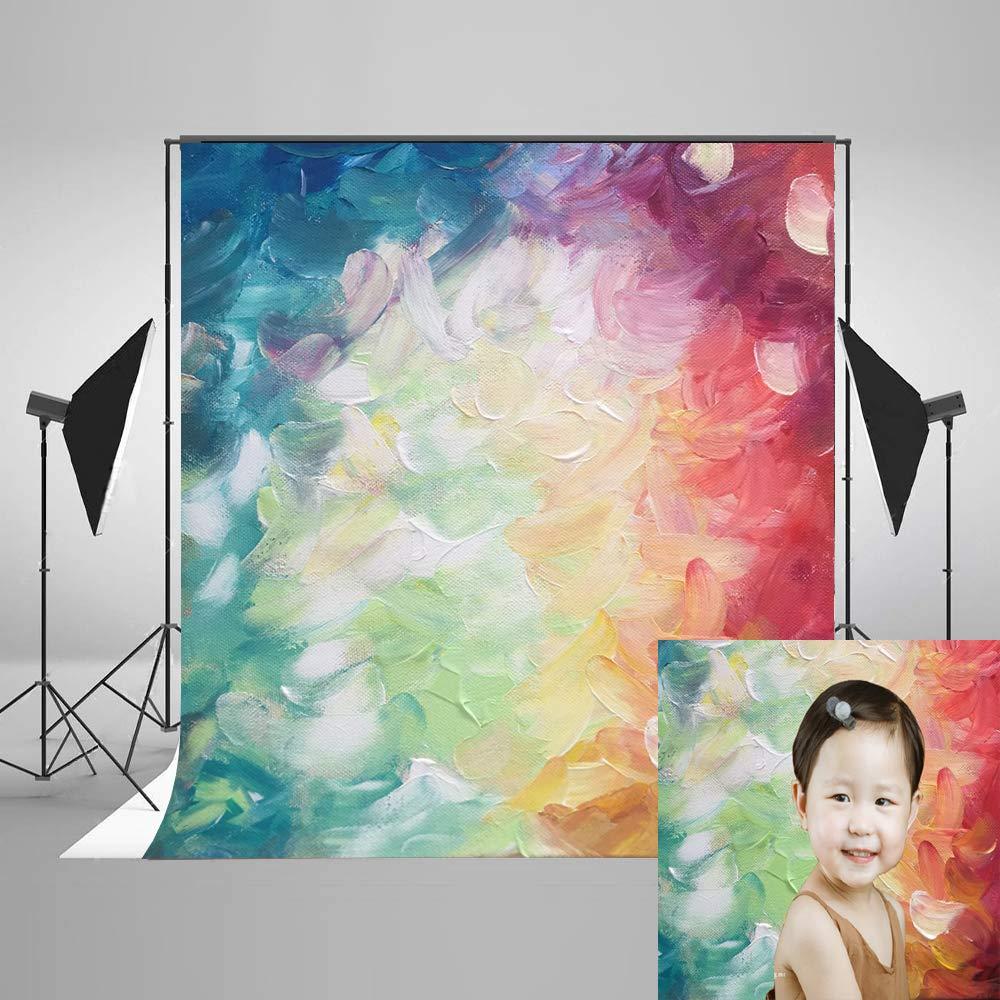 フォト背景 7フィート 水彩 抽象 テクスチャード加工 背景 写真撮影用 油絵 ベビー 誕生日 ポートレート 写真撮影用   B07HF48Y57
