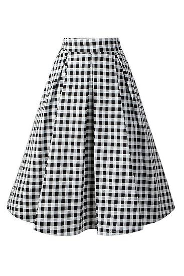 Womens Vintage Años 50 Vichy Plaid Patron Elegante Swing Faldas ...