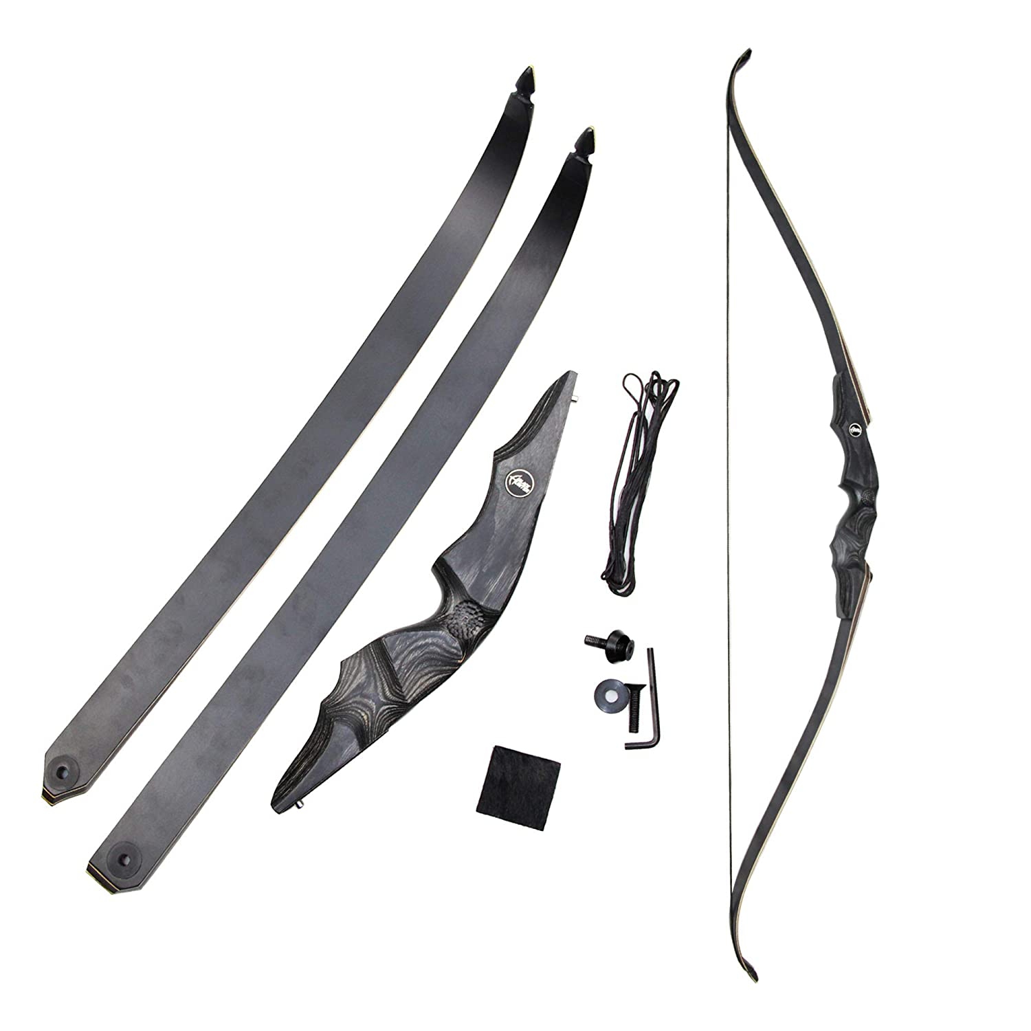 GLURAK Archery Bows 60 Takedown Traditional Recurve Wooden Bow with Carved Riser for Hunting