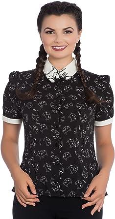 Blusa Top Camisa de Hell Bunny Matou Meow Gato Collar Gatito en estilo Vintage Retro Punk - Negro (XL - ES 44): Amazon.es: Ropa y accesorios