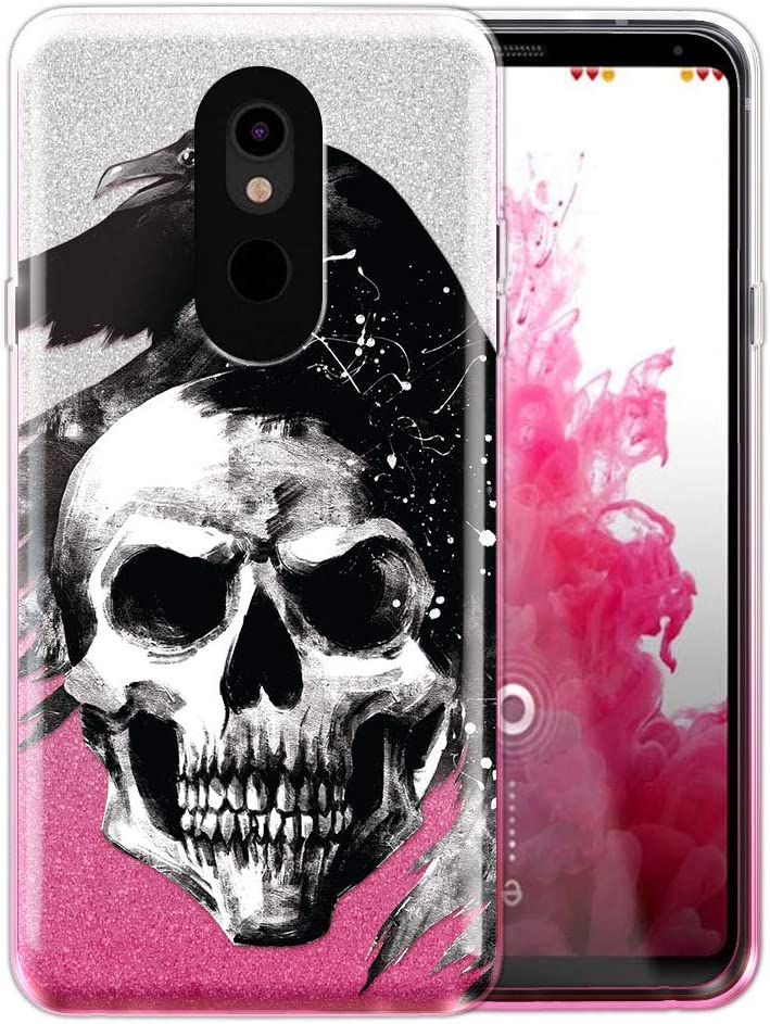 FINCIBO Case Compatible with LG Stylo 5, Shiny Sparkling Silver Pink Gradient 2 Tone Glitter TPU Protector Cover Case for LG Stylo 5 - Skull Raven