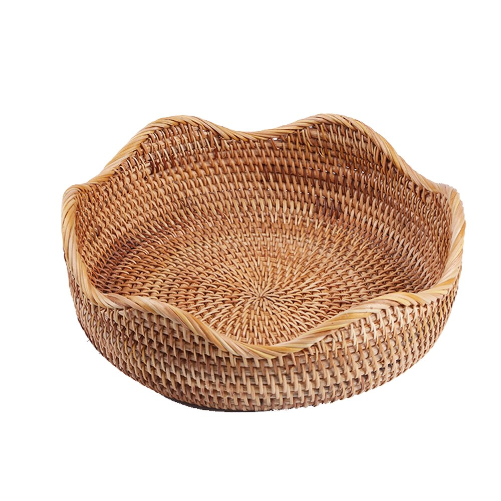 amololo Handmade Rattan Round Fruit Basket Food Storage Bowls Kitchen Organizer Snack Serving Bowl (Medium 10.2'') by amololo