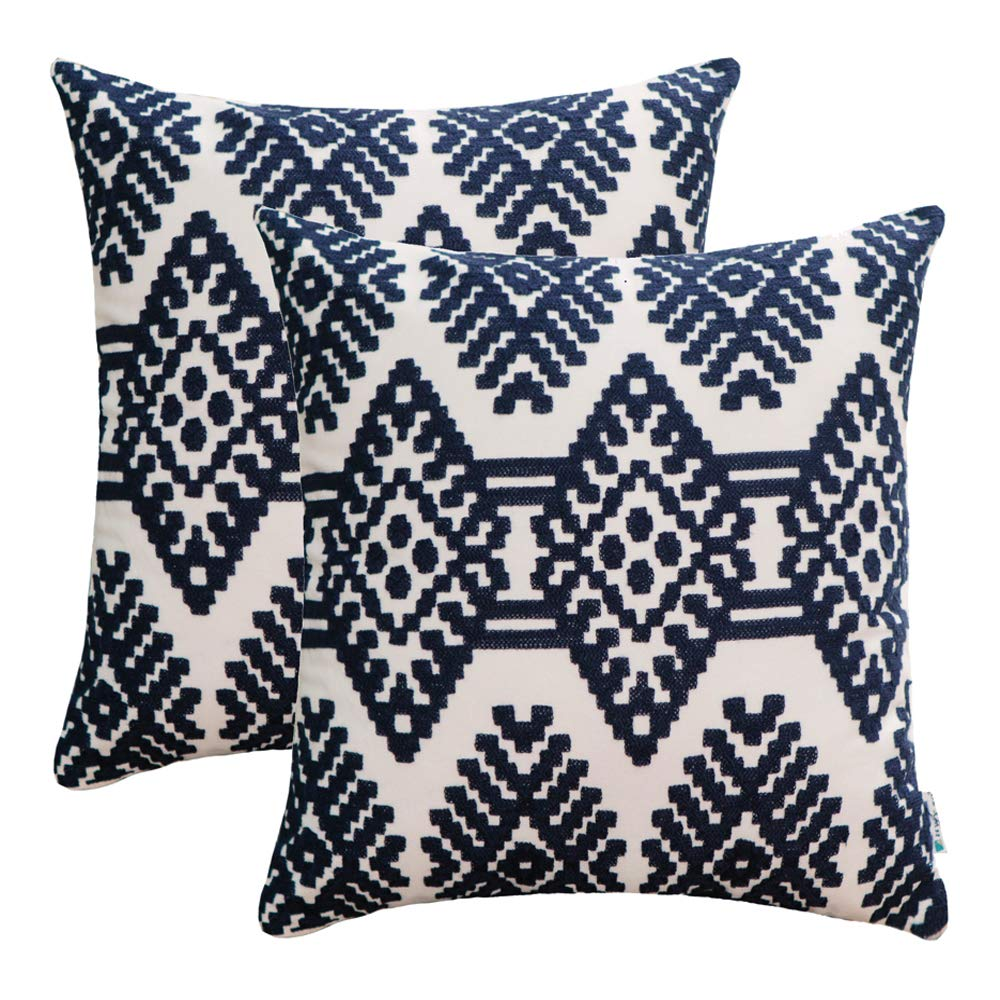 HWY 50 Cotton Embroidered Decorative Throw Pillow Covers Sets Cushion Cases for Couch Sofa Bed Living Room Blue Euro Modern Abstract Artistic Rhombus Geometric 18 x 18 inch Pack of 2