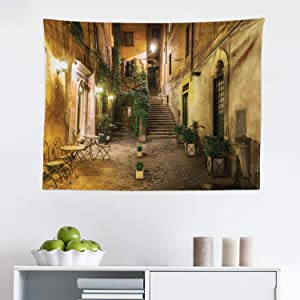 """Lunarable Cityscape Tapestry, Courtyard Night View with Street Cafe Chairs Plants in Flowerpots Rome Print, Fabric Wall Hanging Decor for Bedroom Living Room Dorm, 28"""" X 23"""", Brown Green"""