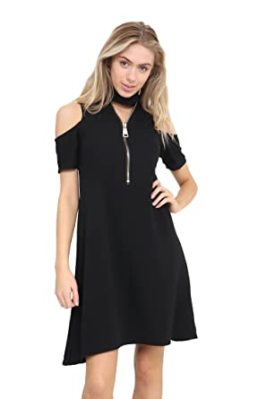 Image Unavailable. Image not available for. Colour  XubiDubi® Womens Cold  Shoulder Front Zip Up V Neck Chocker Swing Dress 5ee6d5c57