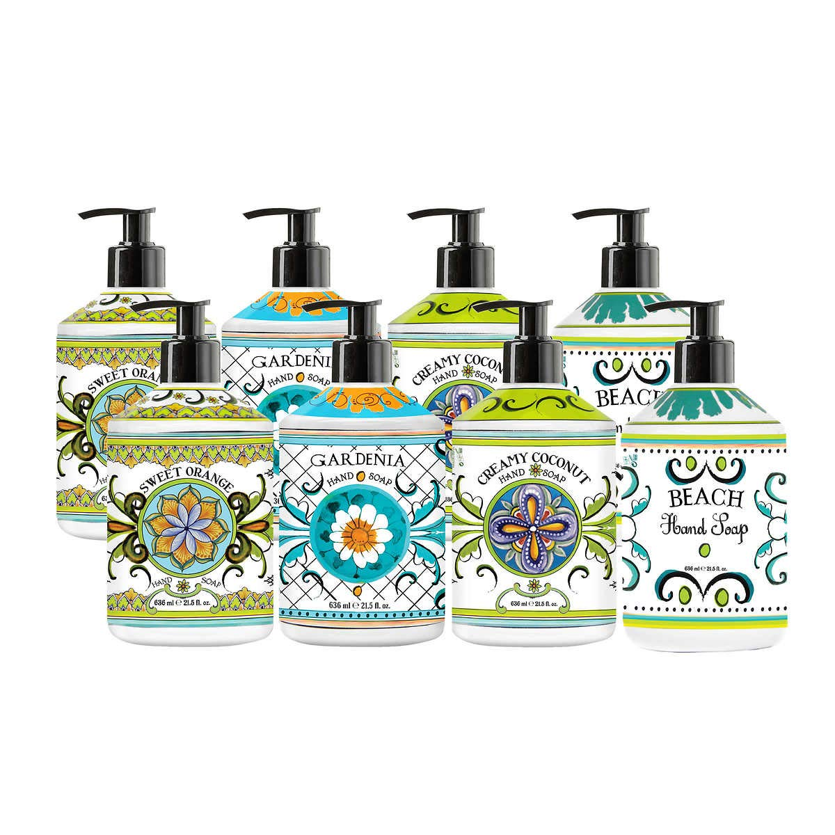Evaxo La Tasse Hand Soap, 8-pack Scents: (2) Sweet Orange, (2) Gardenia, (2) Creamy Coconut, (2) Beach Rich Lather Free Rinsing Formulation that Moisturizes the Skin While Gently Cleansing.#B