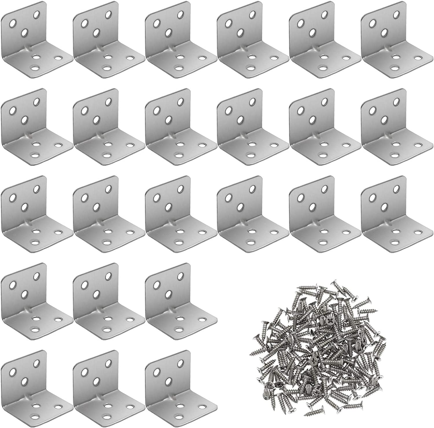 "Furcoitur 24Pcs Stainless Steel L Corner Brace Heavy Duty Corner Bracket 90 Degree Joint Right Angle L Shape Bracket for Wood Cabinets Furniture Shelves, 1.2"" x 1.2"" x 1.5"""