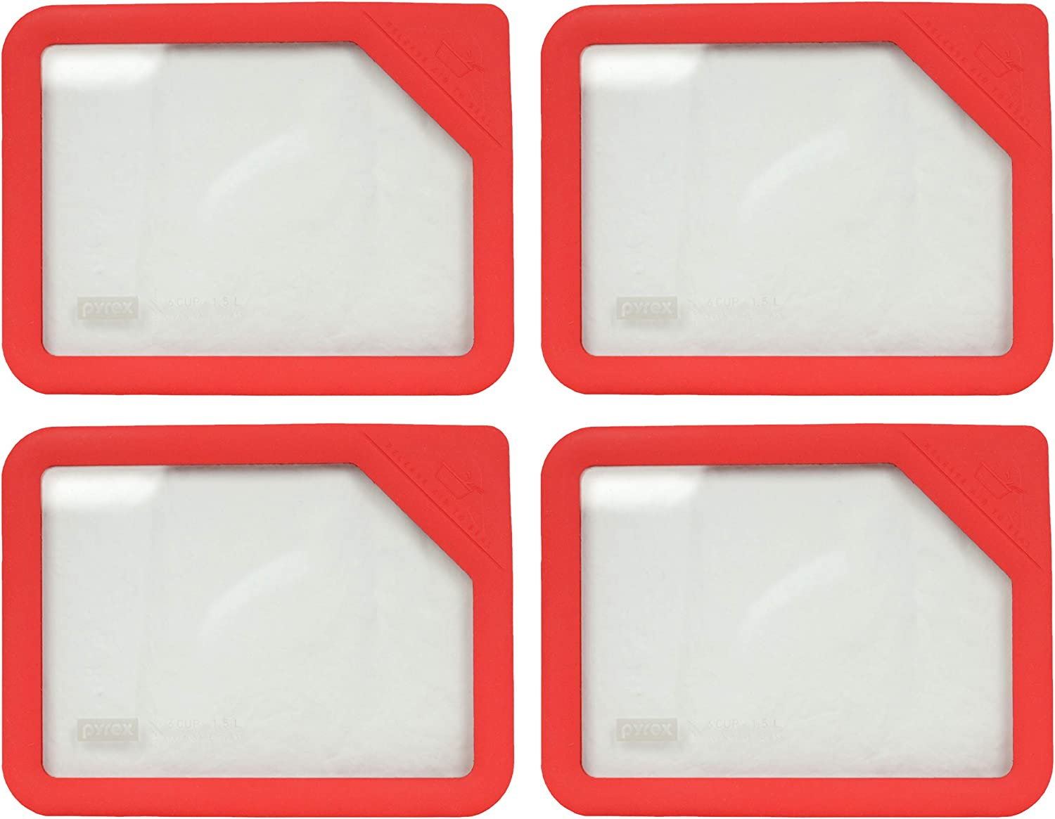 Pyrex Ultimate OV-7211 Red 6 Cup Rectangle Glass Storage Lid - 4 Pack