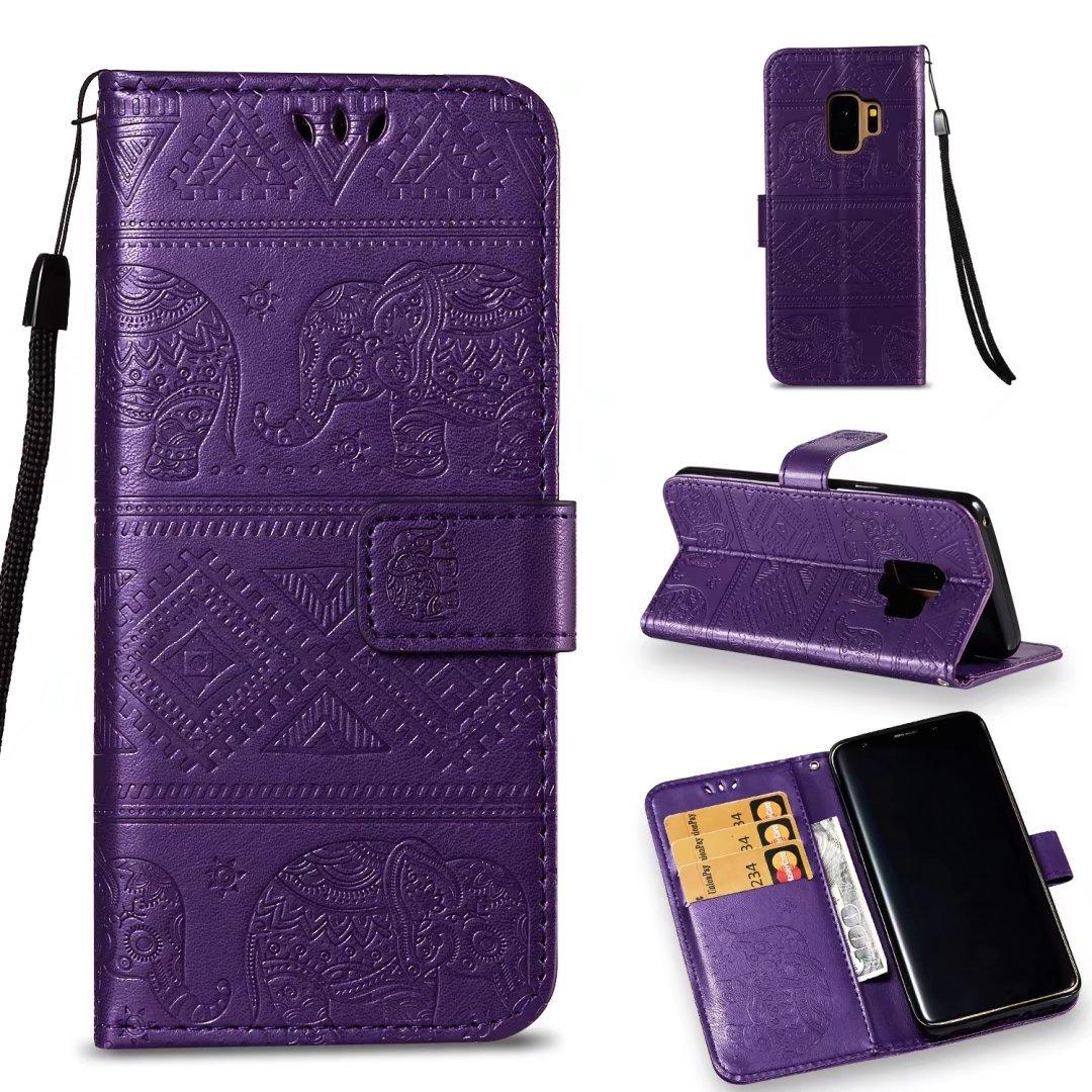 COWX Coque à rabat Portefeuille Étui de protection en cuir PU pour Samsung Galaxy Samsung Galaxy S9S9éléphant Sacoche (Violet) LDdx-S9-ZiSe