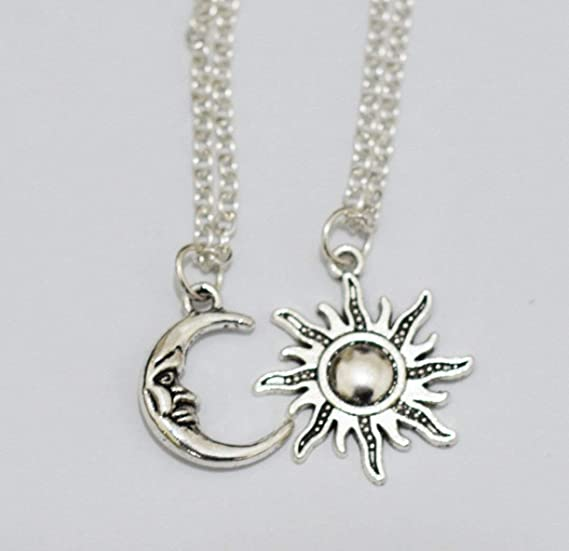 LKEEP Friendship Necklace Gift Moon and Sun Necklace Womens Pendant Necklace with Message Card,Golden