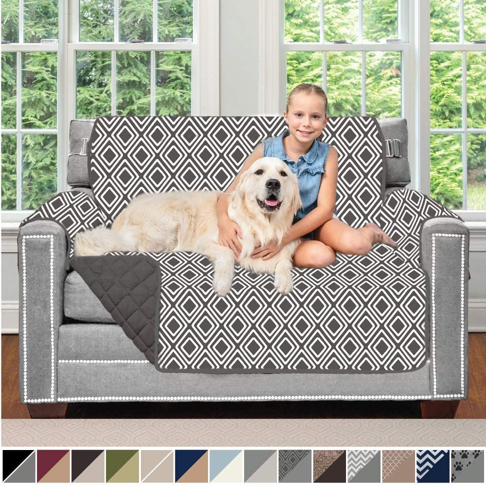 Sofa Shield Original Patent Pending Reversible Loveseat Slipcover, 2 Inch Strap Hook, Seat Width Up to 54 Inch Washable Furniture Protector, Couch Slip Cover for Pets, Love Seat, Diamond Charcoal