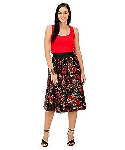 Hiya Women's Crepe Flower Panel Skirt (Red; X-Large)