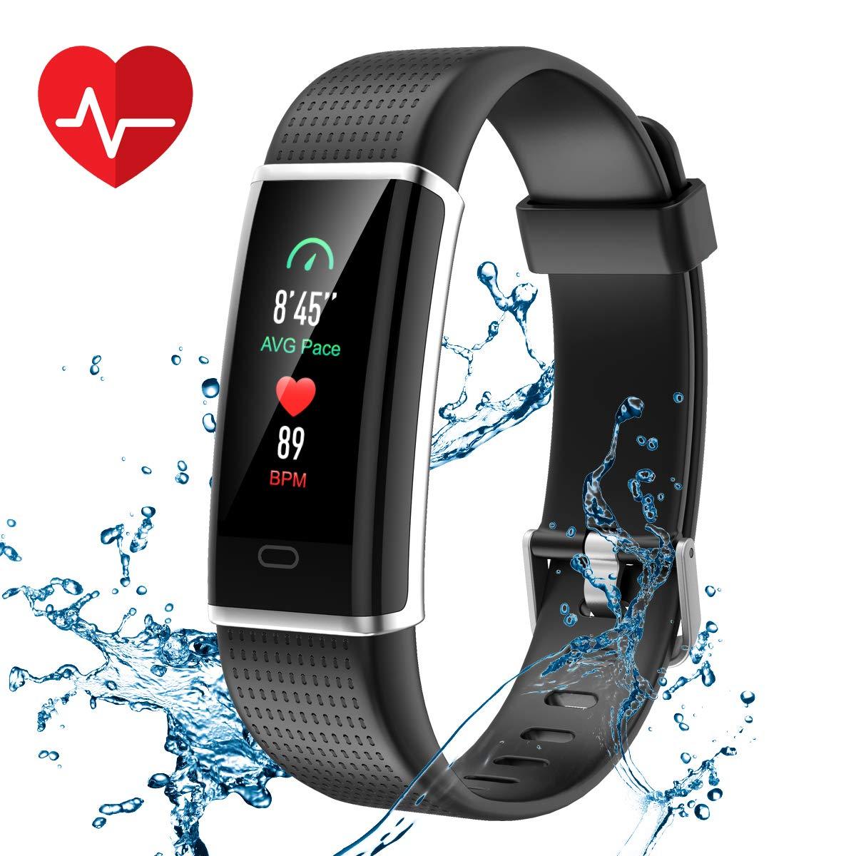CHEREEKI Pulsera Actividad, Pulsera de Actividad Inteligente Frecuencia Cardíaca Monitor, IP68 Impermeable Pantalla Color, Monitor de Sueño, 14 Modos de Deporte, Bluetooth Pulsera Inteligente(Negro)