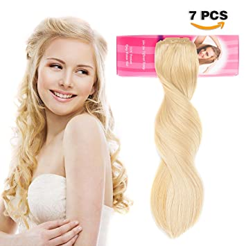 Clip in Hair Extensions Remy Real Human Hair Clip on Long Straight Clip Hair  for Women 7358a494a
