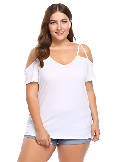 4017250ad90e1 IN VOLAND Women Plus Size Off Shoulder Spaghetti Strap T Shirt Casual Tee Top  White
