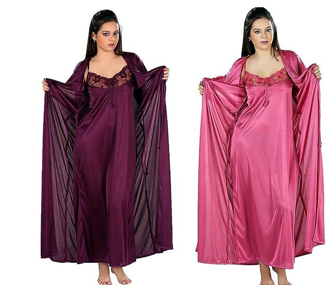 e26665e801 ECOM DLLHIMART Style Women Satin Peach and Dark Purple Nighty with ...