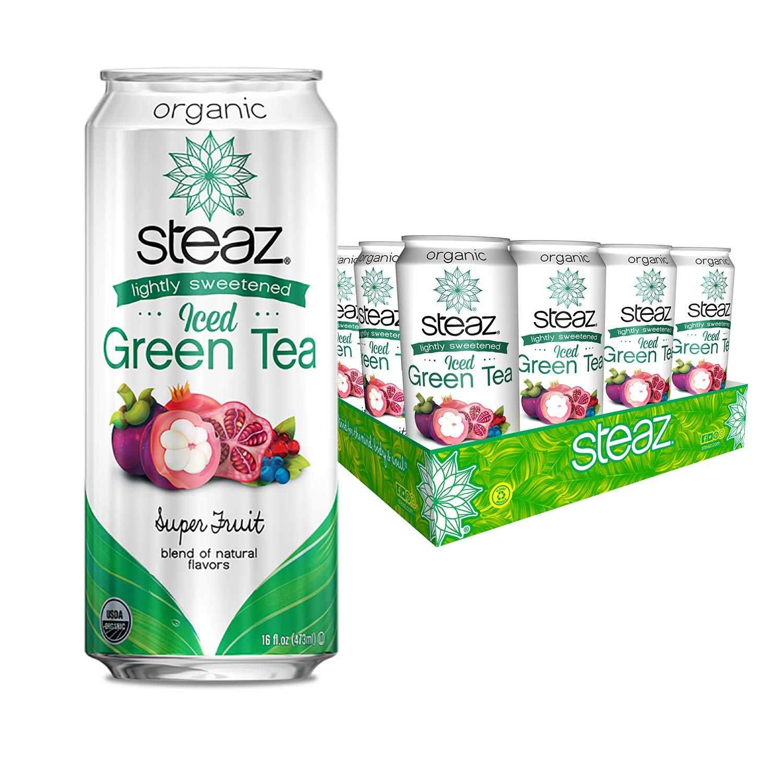 Steaz Organic Lightly Sweetened Iced Green Tea, Superfruit, 16 OZ (Pack of 12)