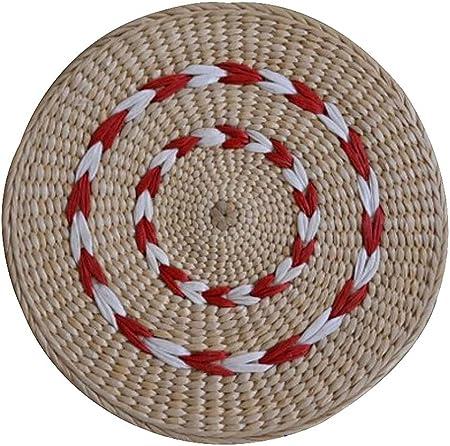 DRAGON SONIC Natural Handmade Straw Mat Floor Mats Square Chair Cushion,41x43 cm