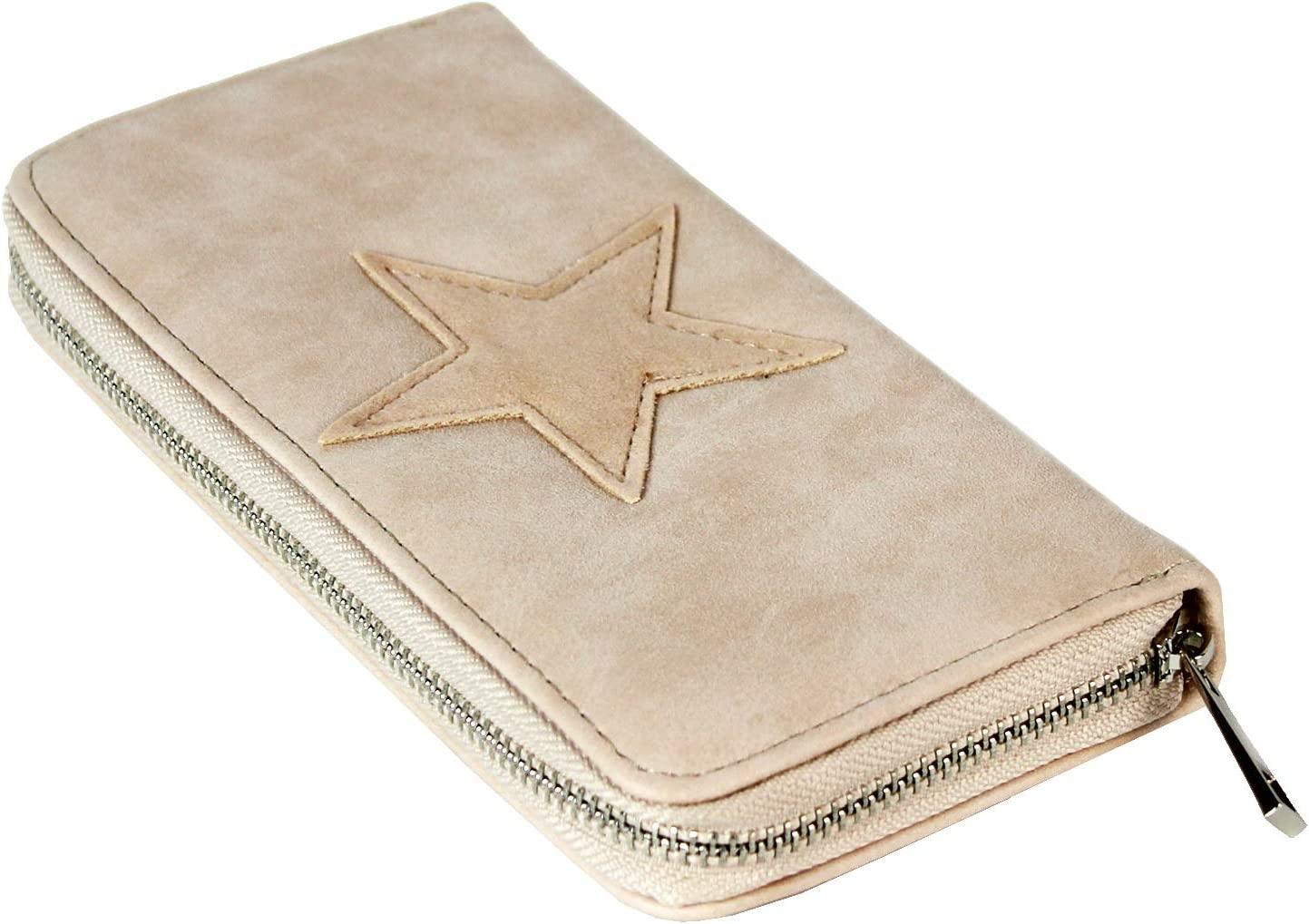 Gloop Geldb/örse mit Stern Muster Kunst Leder Portemonnaie Vintage Design Brieftasche Geldbeutel