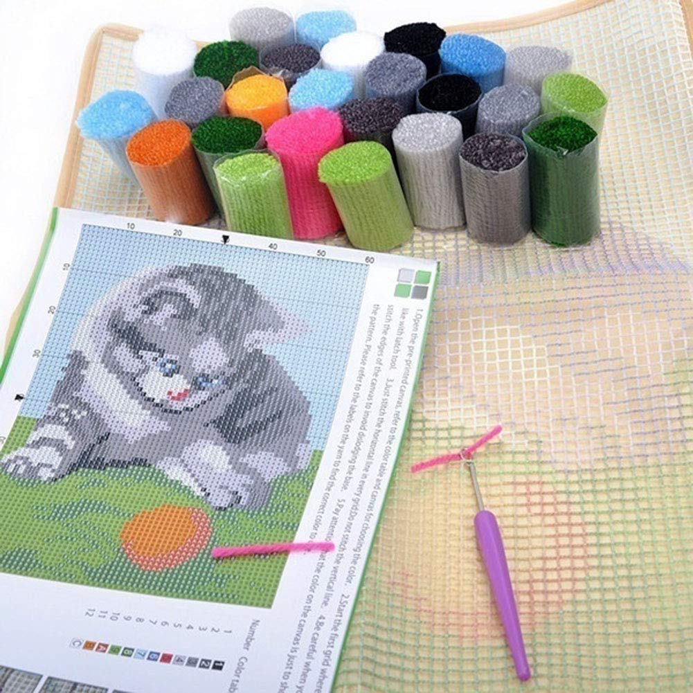 DIY Cushion Carpet Mat Latch Hook Rug Kits Cover Hand Craft Embroidery Pillowcase Crocheting Flower Handmade Sewing Needlework Kids Parents Gift