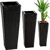 TecTake Lot de 3 Pots de fleurs en rotin résine tressée avec 3 pots intérieurs amovibles - diverses couleurs au choix - (Noir   no. 401642)