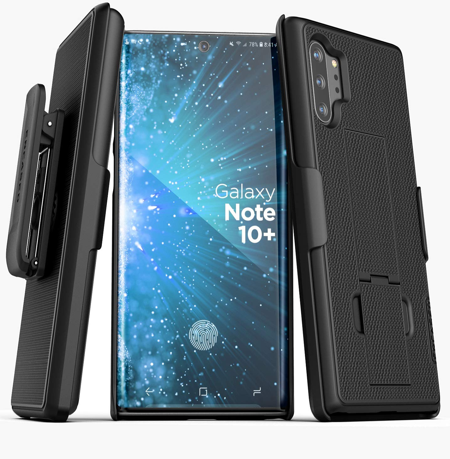 Encased Galaxy Note 10 Plus Belt Clip Case (2019 DuraClip) Ultra Slim Cover with Holster, Matte Black (Samsung Note 10+) by Encased