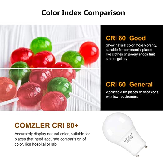 Comzler GU24 Light Bulb 72W Equivalent, 9W A19 LED Bulbs with GU24 Twist-in Base, 2700K Warm White Non-dimmable Lights for Home, Kitchen, Bedroom(4-Pack) ...