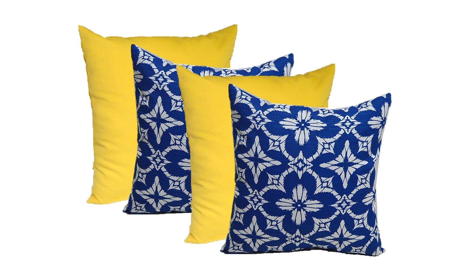 Set of 4 - Indoor / Outdoor 17'' Square Decorative Throw / Toss Pillows - 2 Solid Yellow & 2 Richloom Aspidoras Cobalt - Royal Blue / White Geometric Sunburst