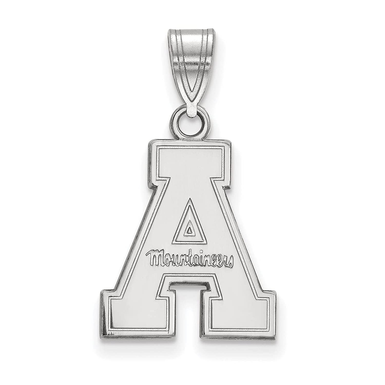 925 Sterling Silver Rhodium-plated Laser-cut Appalachian State University Medium Pendant